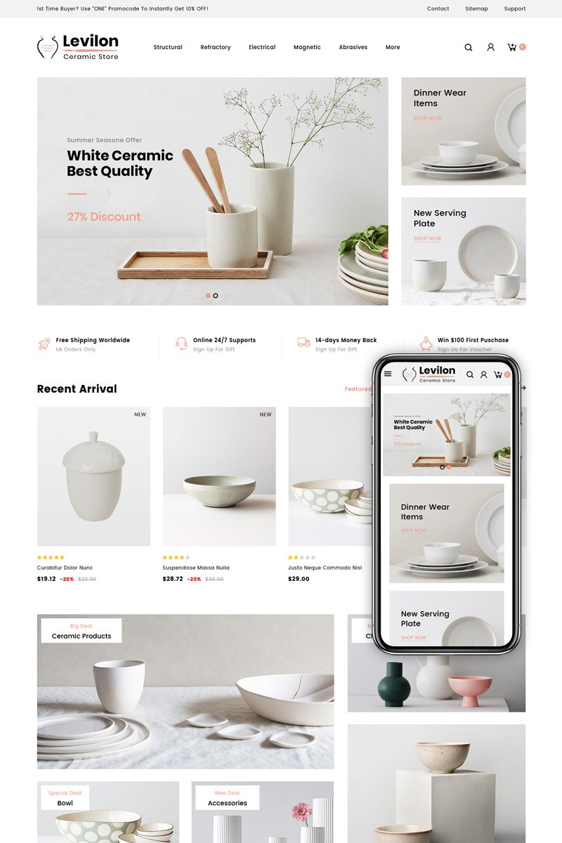 """Levilon - Ceramic Store"" thème PrestaShop adaptatif #84008"