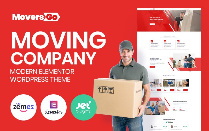 """MoversGo - Moving Company Modern Elementor"" Responsive WordPress thema №84082"