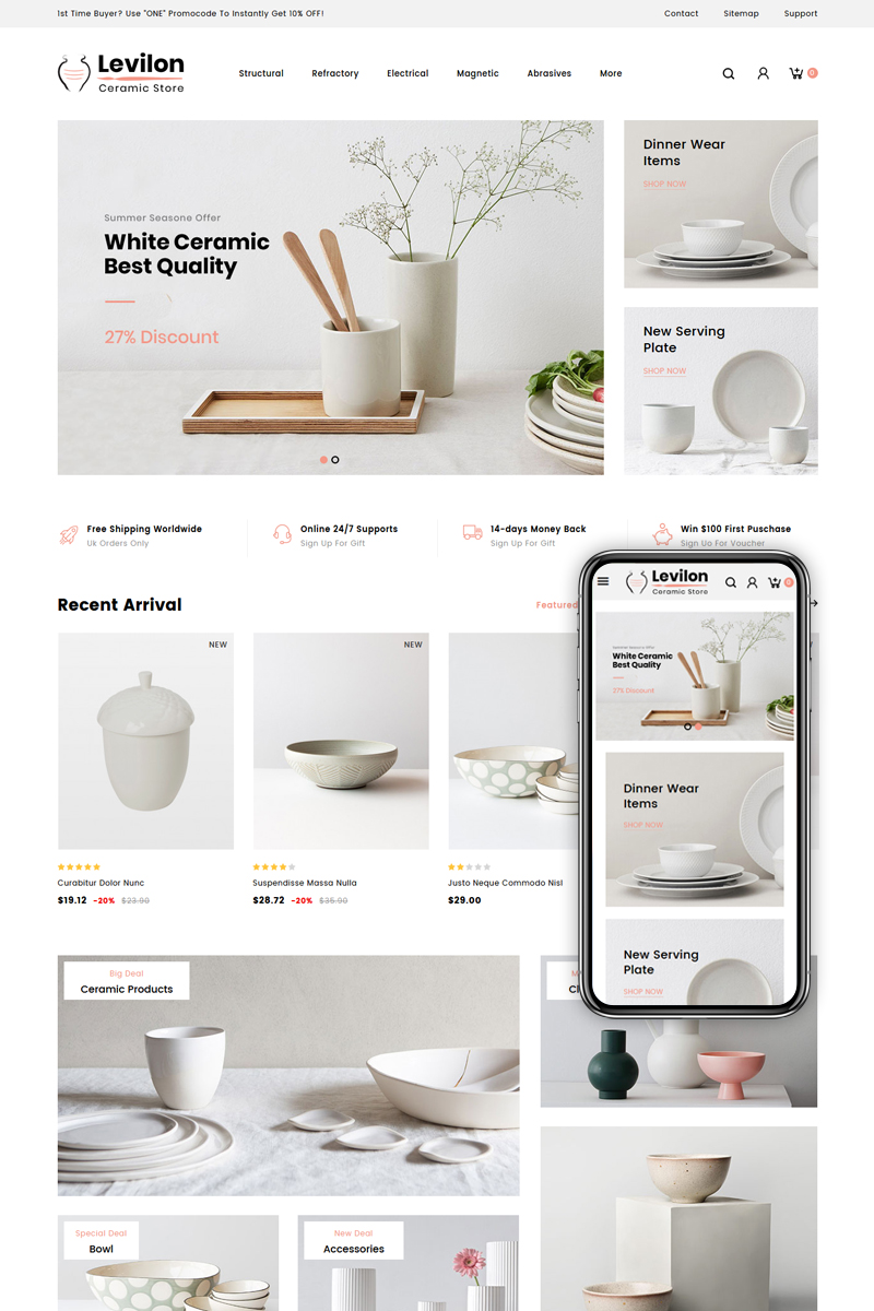 "PrestaShop Theme namens ""Levilon - Ceramic Store"" #84008"