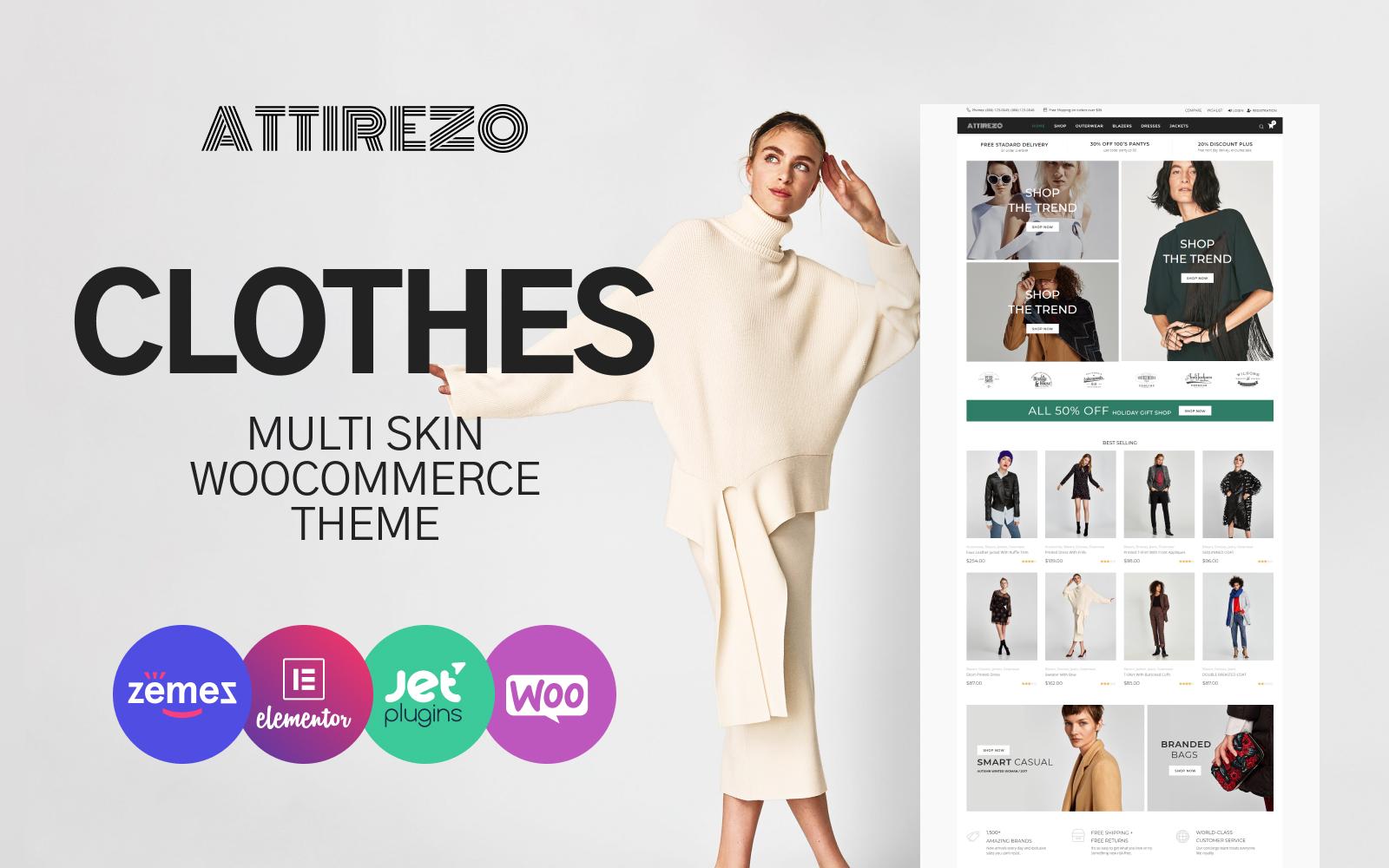 Responsive Attirezo - Clothes ECommerce Classic Elementor Woocommerce #84081