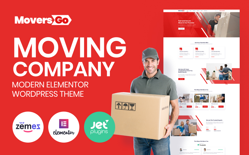 Responsywny motyw WordPress MoversGo - Moving Company Modern Elementor #84082