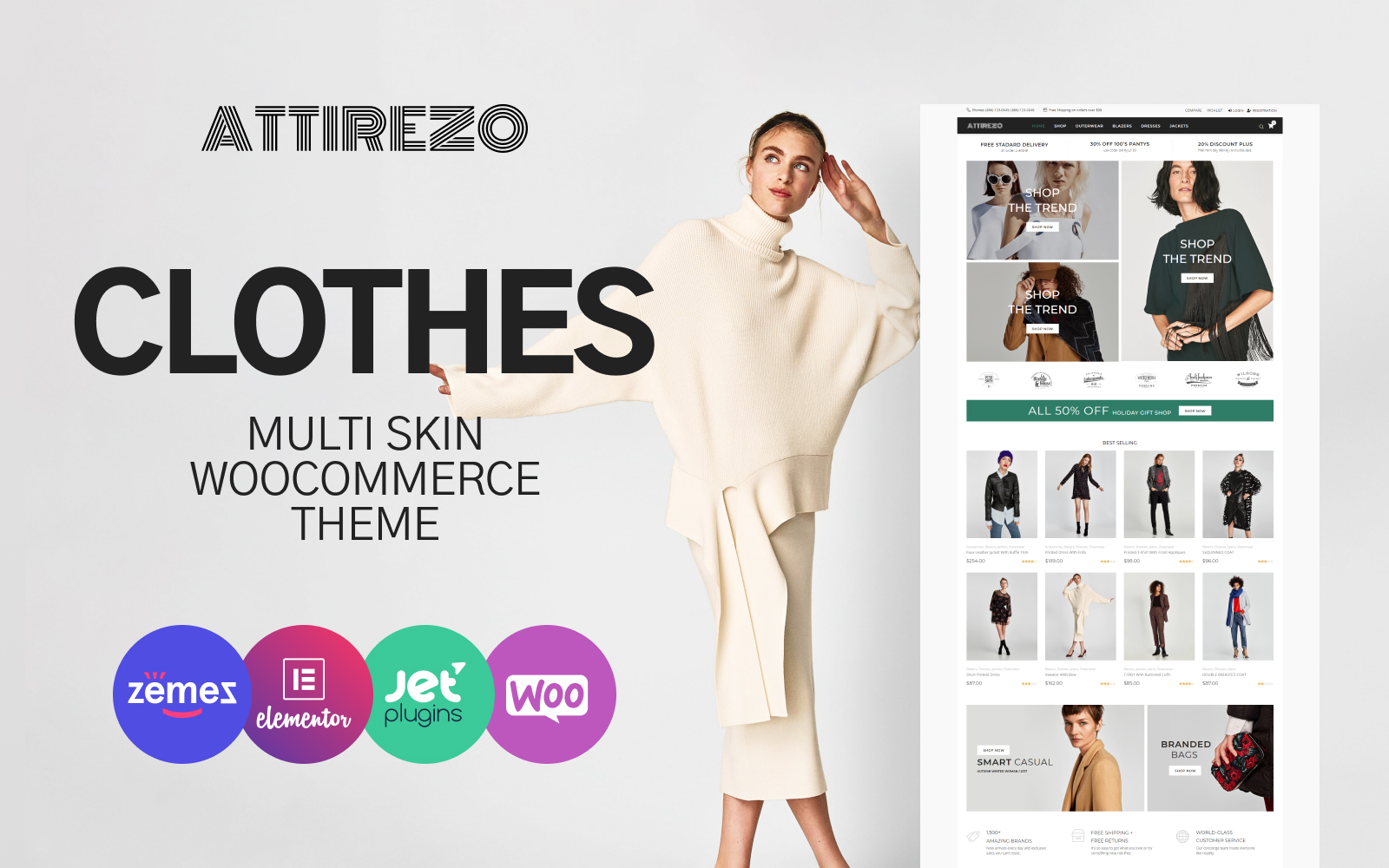 Reszponzív Attirezo - Clothes ECommerce Classic Elementor WooCommerce sablon 84081