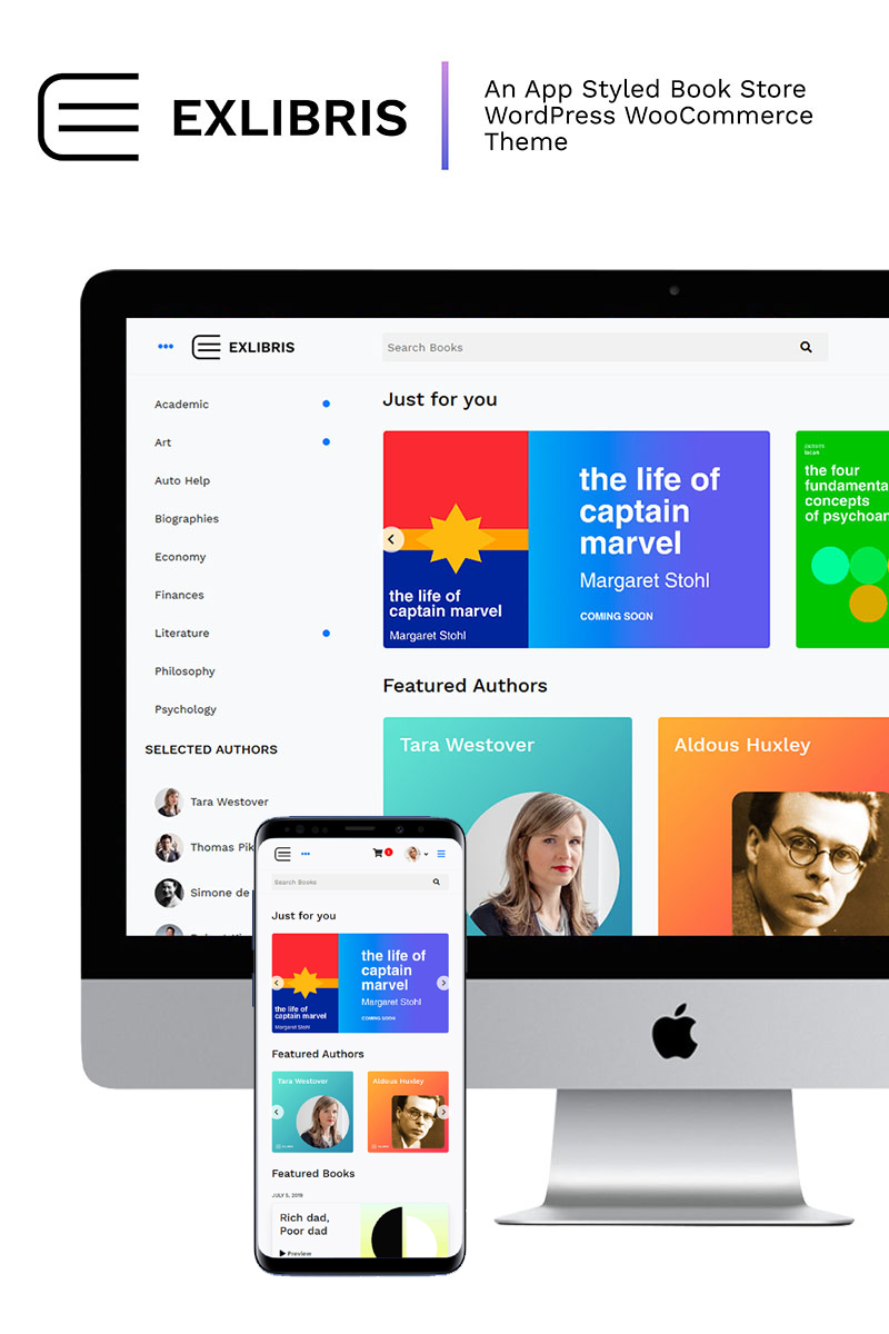 Reszponzív EXLIBRIS - Book Store App Styled WooCommerce sablon 84045
