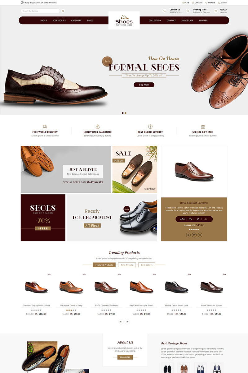 """""""Shoes Store Responsive"""" 响应式Shopify模板 #84015 - 截图"""