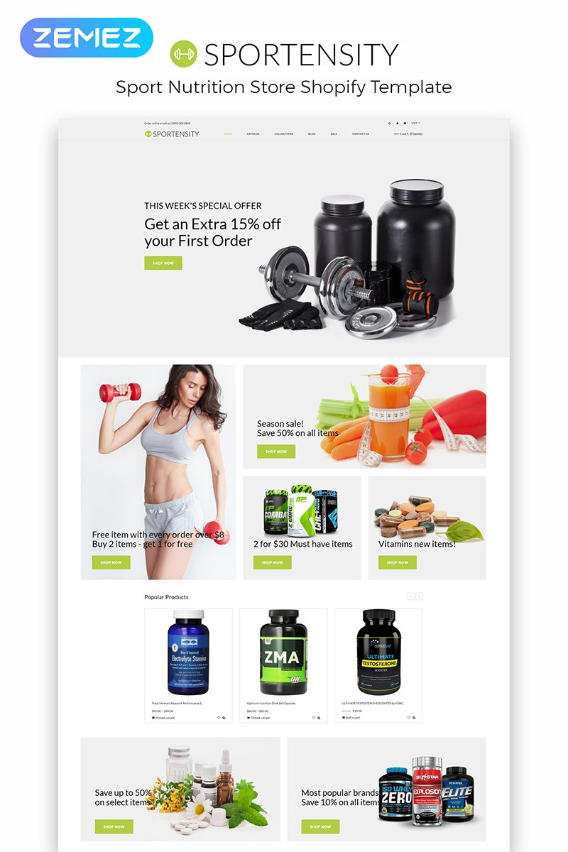 """""""Sportensity - Sports Store eCommerce Clean"""" Responsive Shopify Thema №84009"""