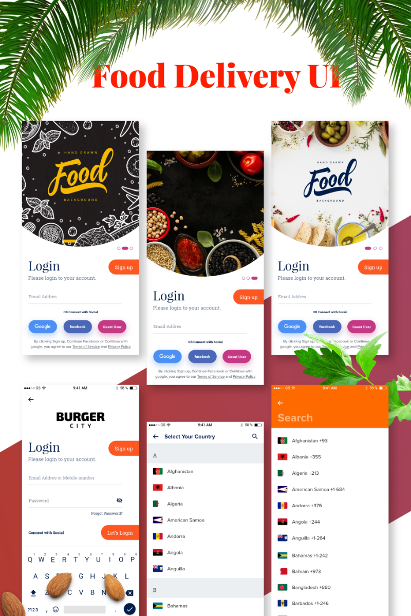 "Template Elementi UI #84046 ""Food Delivery App UI"""