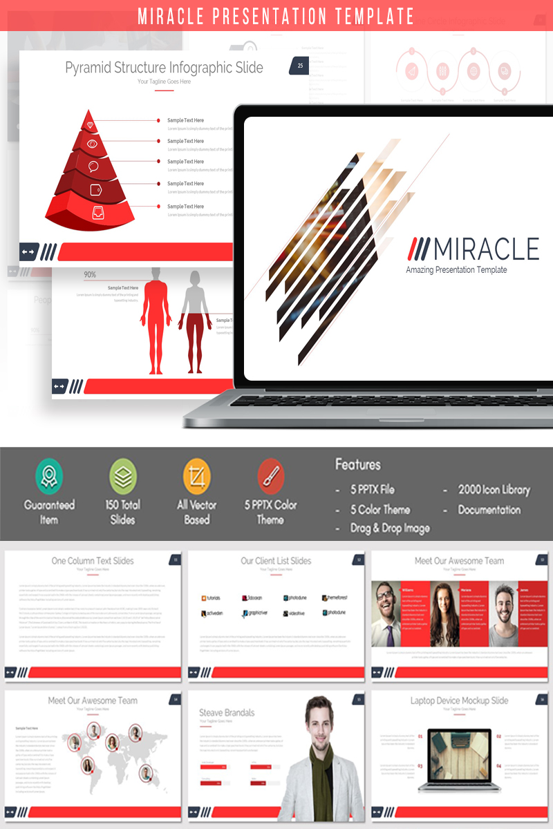 "Template PowerPoint Responsive #84097 ""MIRACLE - Presentation"" - screenshot"