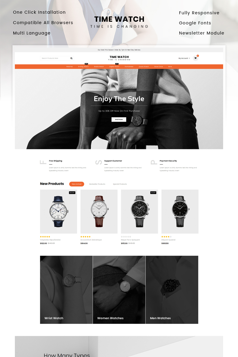 """Time Watch Store"" - OpenCart шаблон №84079 - скріншот"