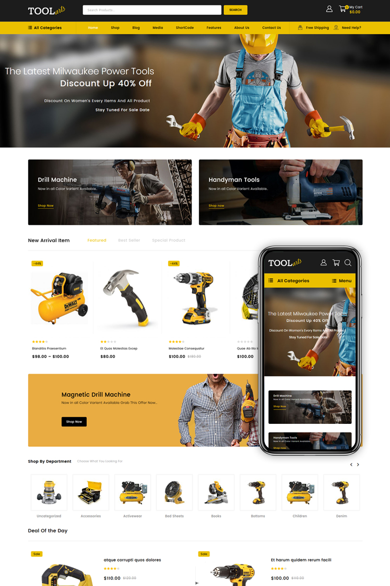 """ToolArt - Power Tools Store"" Responsive WooCommerce Thema №84012"