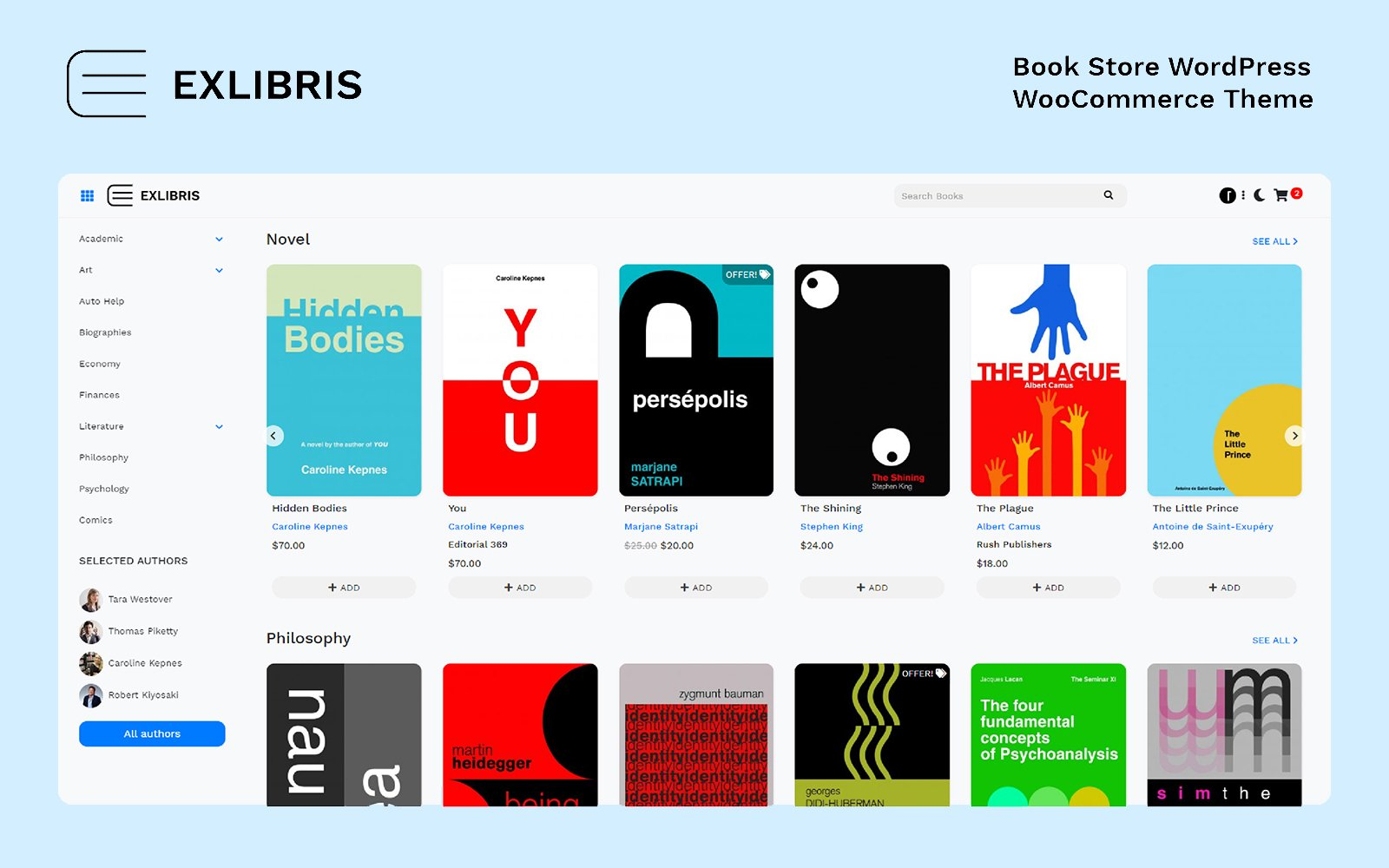 "WooCommerce Theme namens ""EXLIBRIS - Book Store"" #84045"