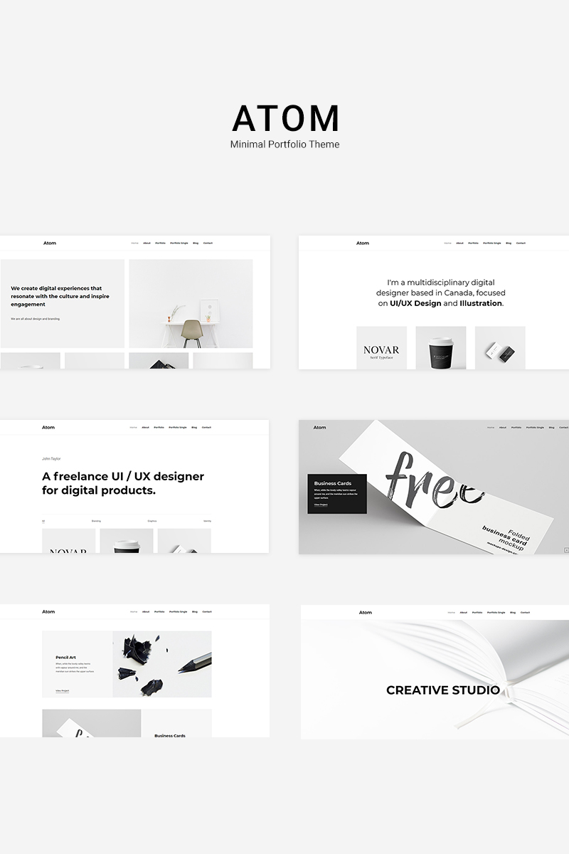 "WordPress Theme namens ""Atom - Minimal Portfolio"" #84025 - Screenshot"