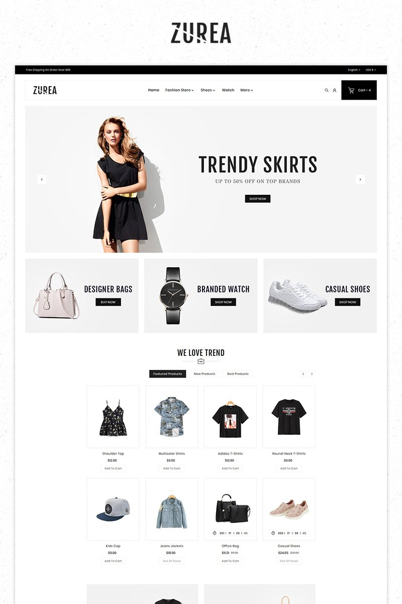 Zurea Fashion Store Premium PrestaShop sablon 84096