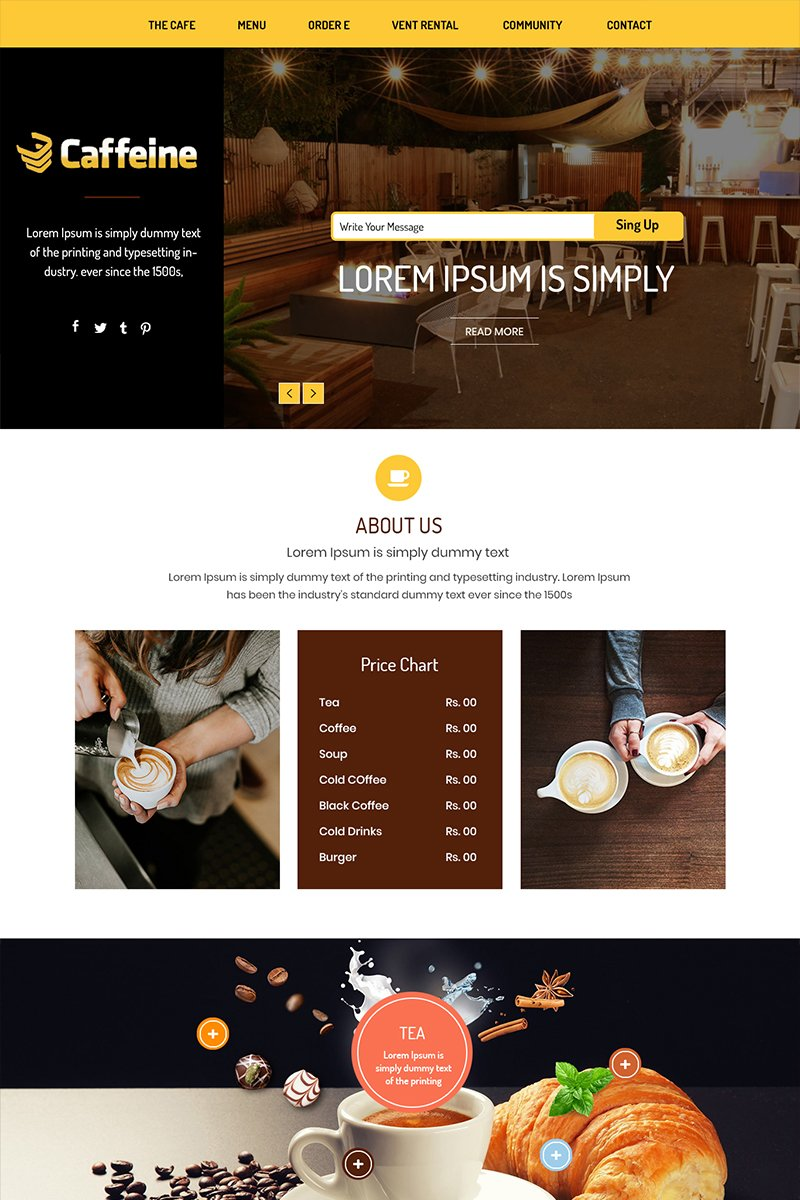 Caffeine - Coffe Shop PSD-mall #84111 - skärmbild