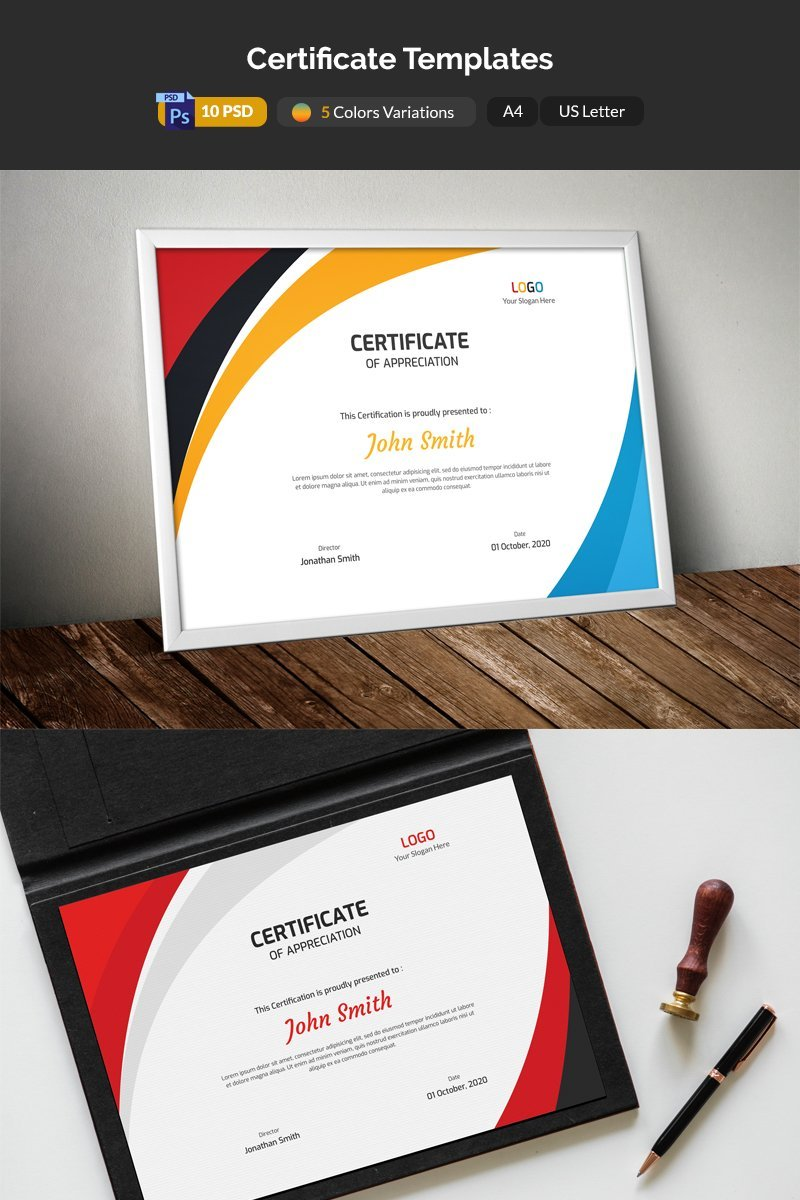 Colored Waves Certificate Template
