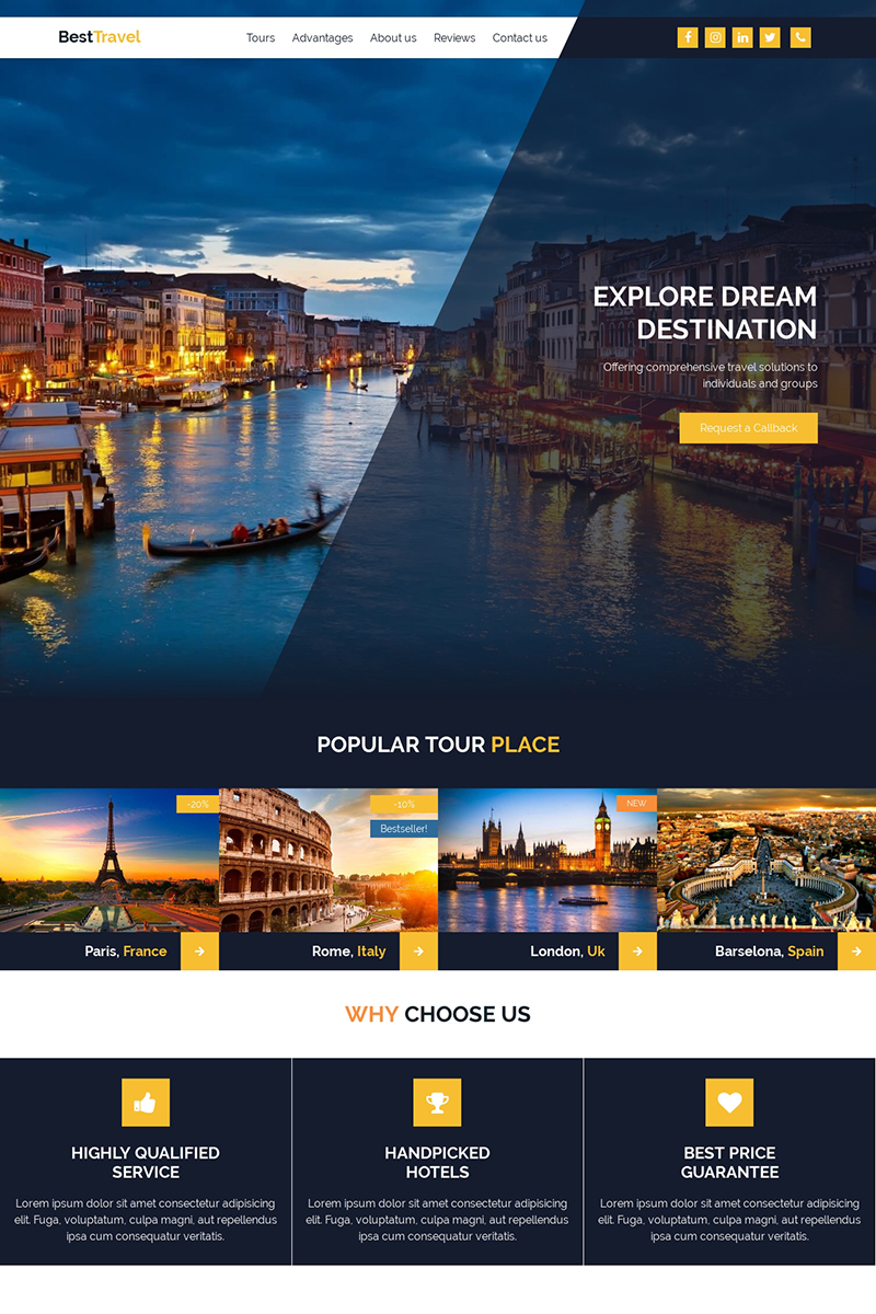 """Landing Page Template namens """"BestTravel - Landing Page Template"""" #84159"""