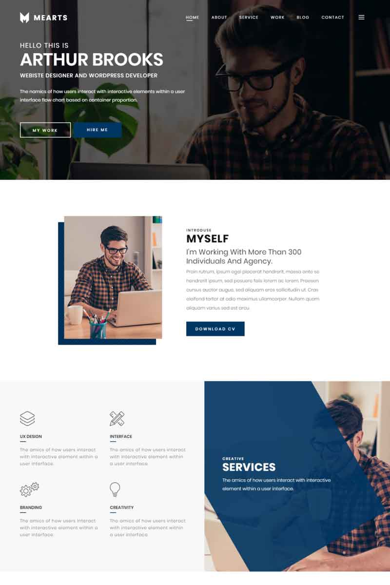 Mearts - Personal Portfolio Tema WordPress №84162
