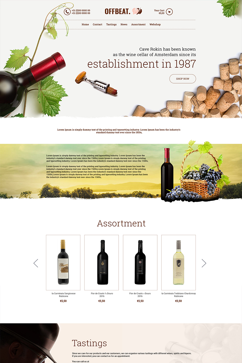 """Offbeat - Wine Company"" PSD Template №84136"