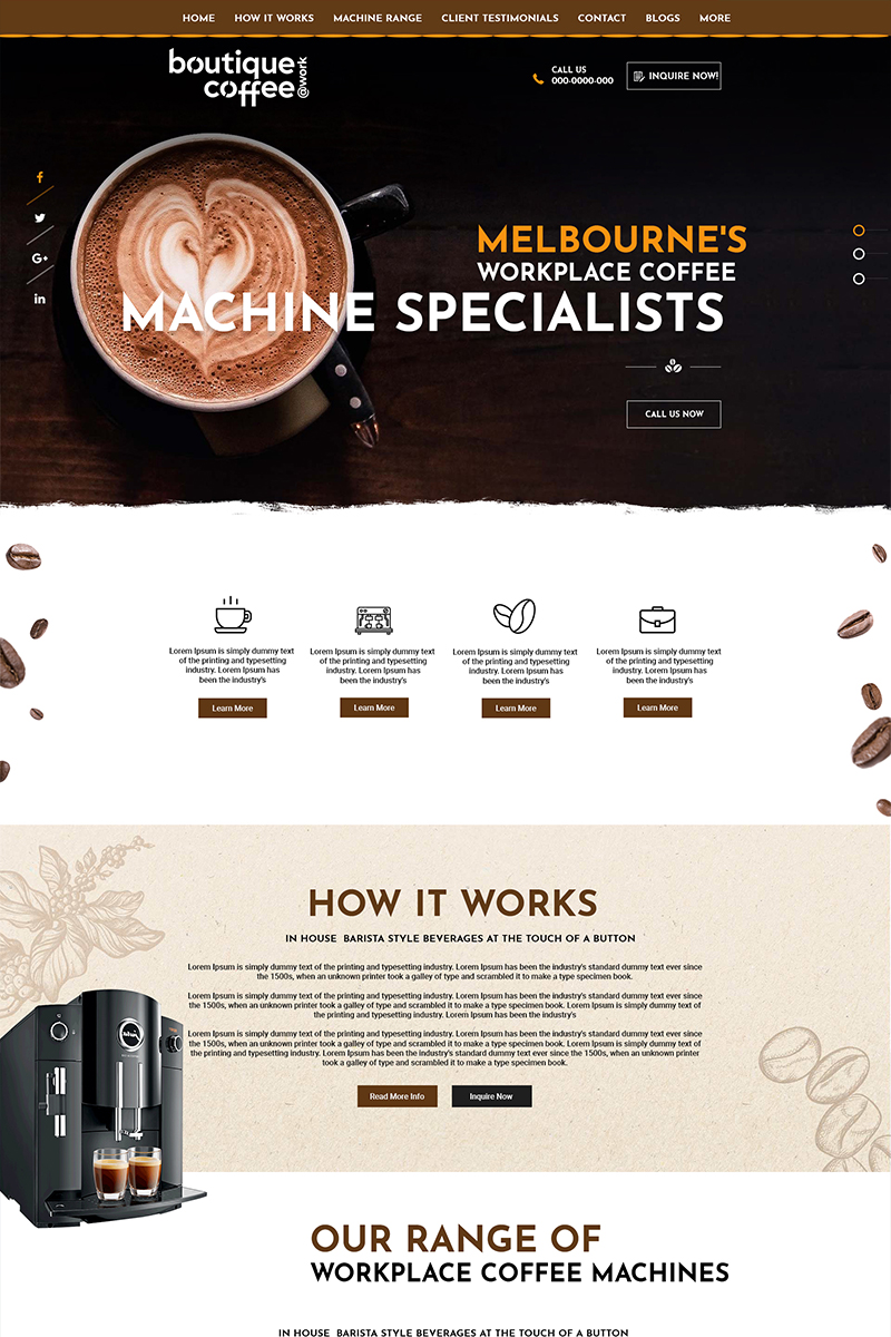 "Tema PSD #84147 ""Boutique Coffee - Coffee Shop"""