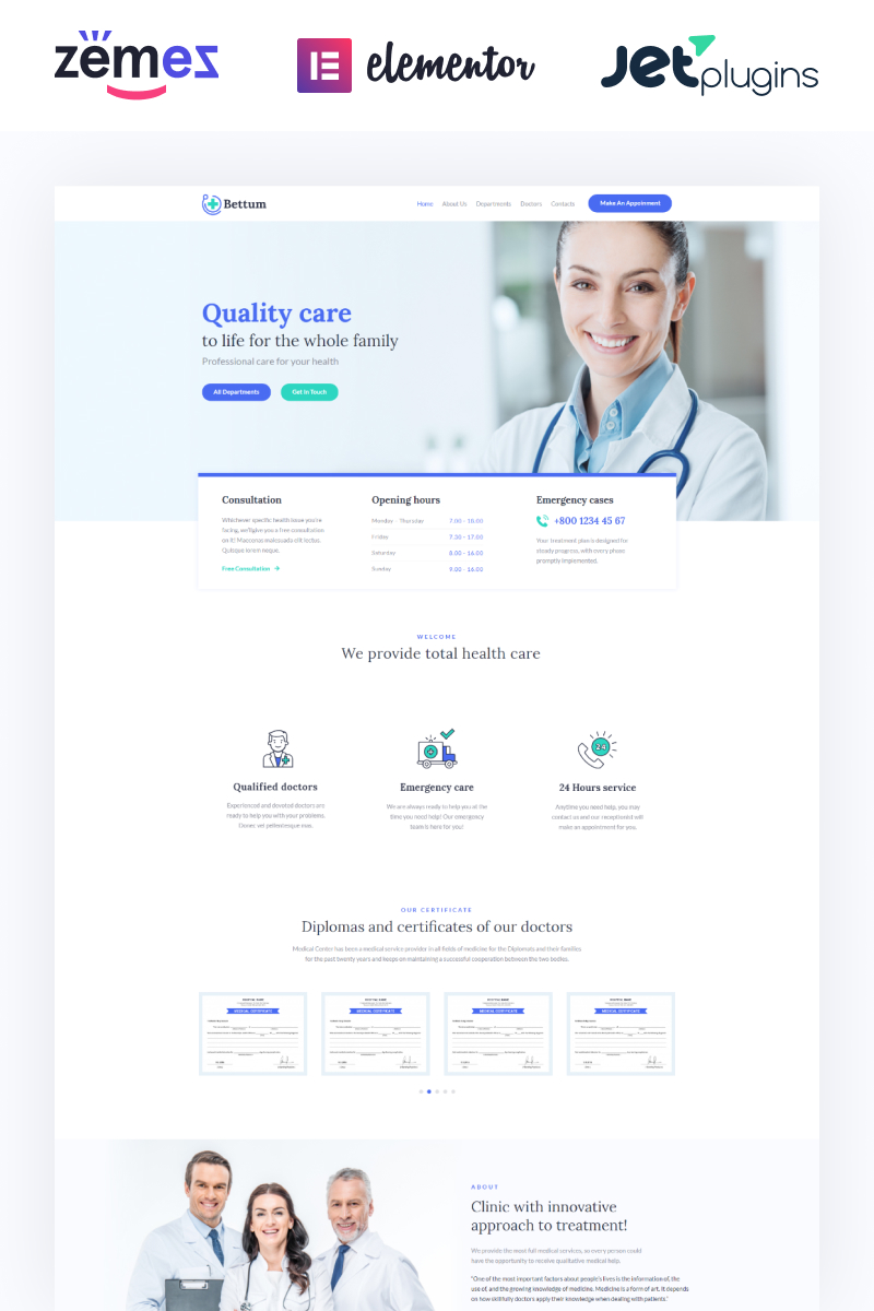 "Template WordPress #84106 ""Bettum - Clean Medical Elementor"" - screenshot"