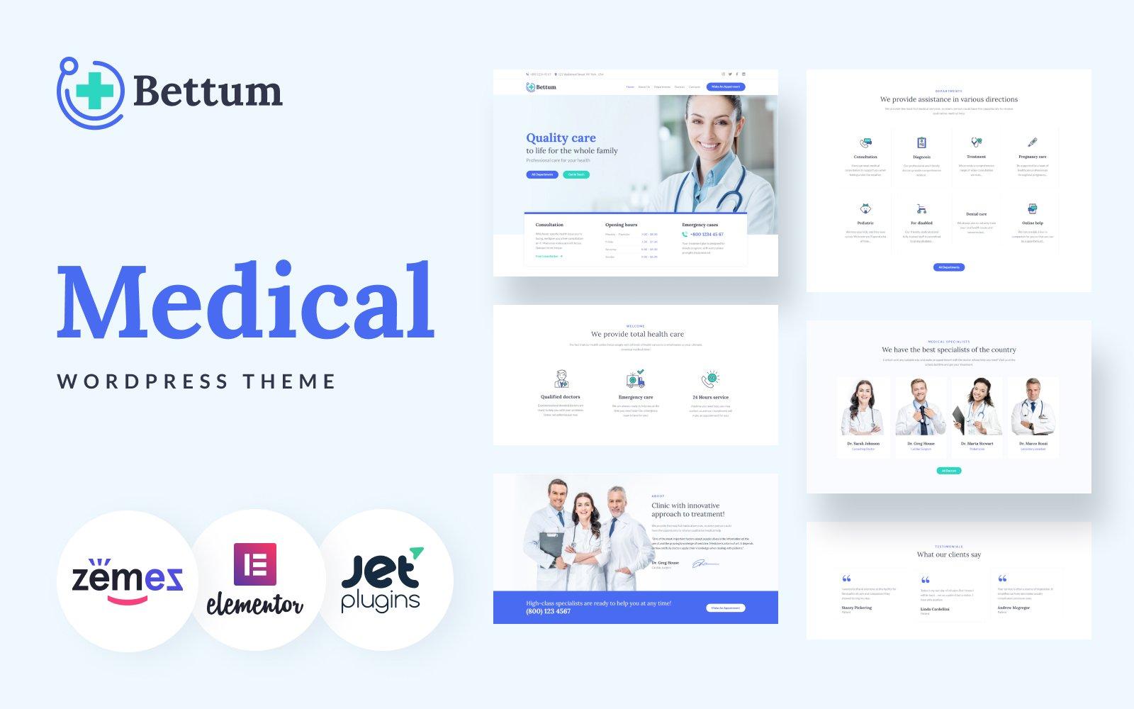 "Template WordPress Responsive #84106 ""Bettum - Clean Medical Elementor"""