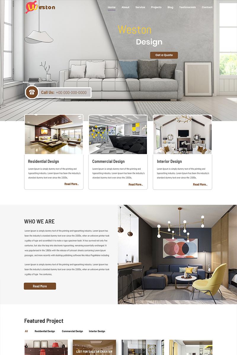 """Weston - Interior Design"" - PSD шаблон №84156"