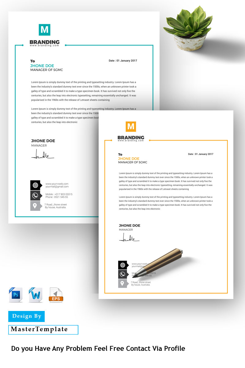M Letterhead Corporate Identity Template
