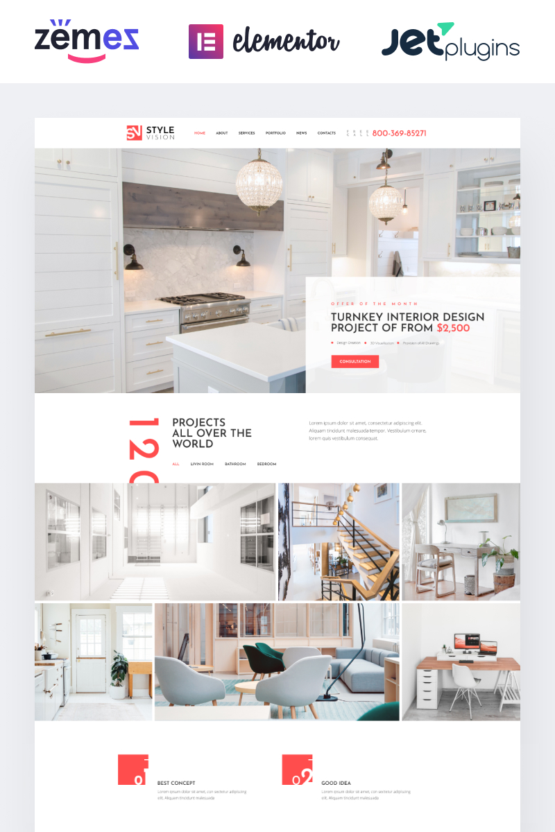 Style Vision Interior Design Multipurpose Modern Elementor Wordpress Theme Zemez