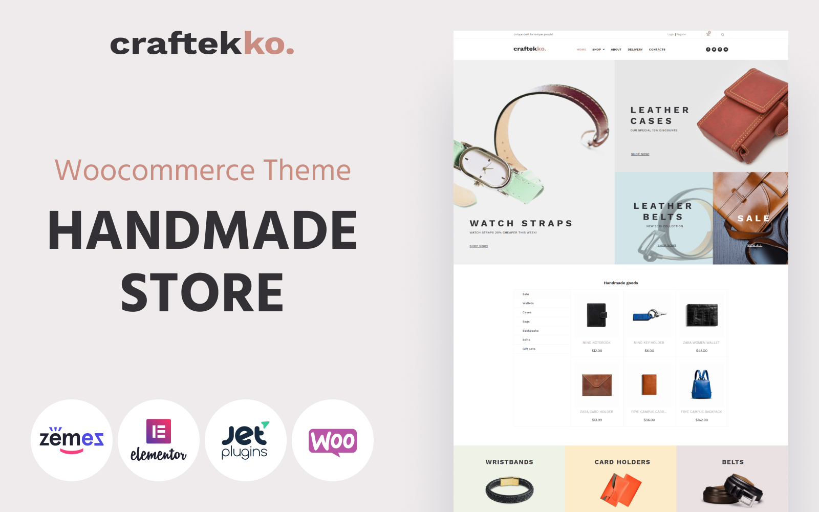 """Craftekko - Handmade ECommerce Clean Elementor"" 响应式WooCommerce模板 #84380"