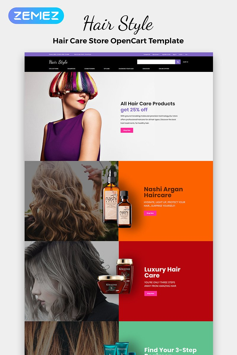 """Modello OpenCart Responsive #84365 """"Hair Style - Beauty Store Multipage Creative"""""""