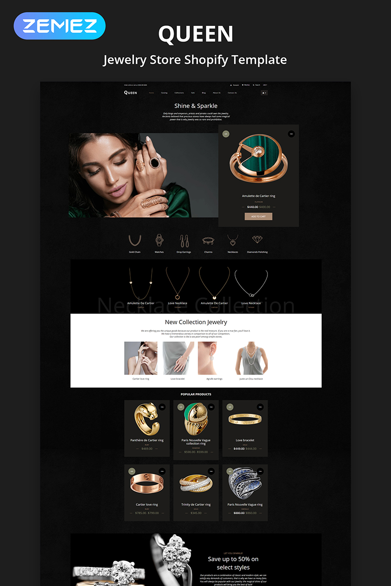 """Queen - Jewelry Multipage Elegant"" - адаптивний Shopify шаблон №84381"