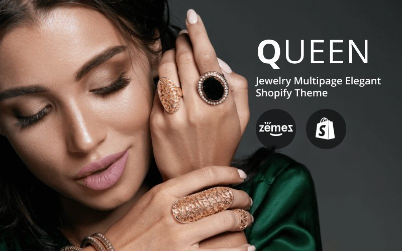Responsywny szablon Shopify Queen - Jewelry Multipage Elegant #84381