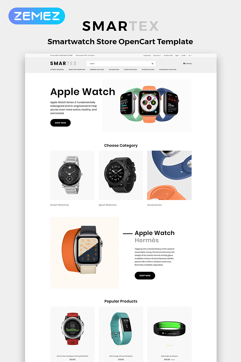 """""""Smartex - Electronics Store Multipage Clean"""" Responsive OpenCart Template №84368"""