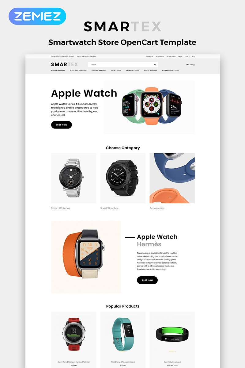 """""""Smartex - Electronics Store Multipage Clean"""" Responsive OpenCart Template №84368 - screenshot"""