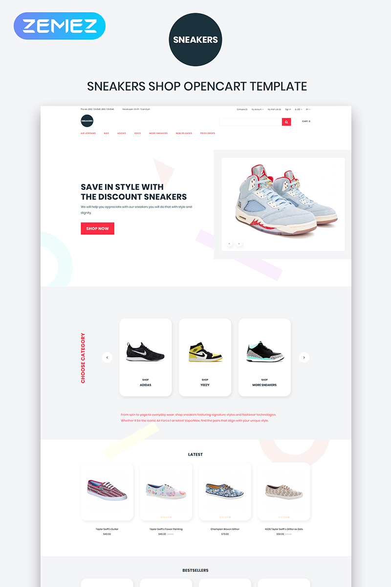 """Sneakers - Shoe Store eCommerce Clean"" - адаптивний OpenCart шаблон №84366 - скріншот"