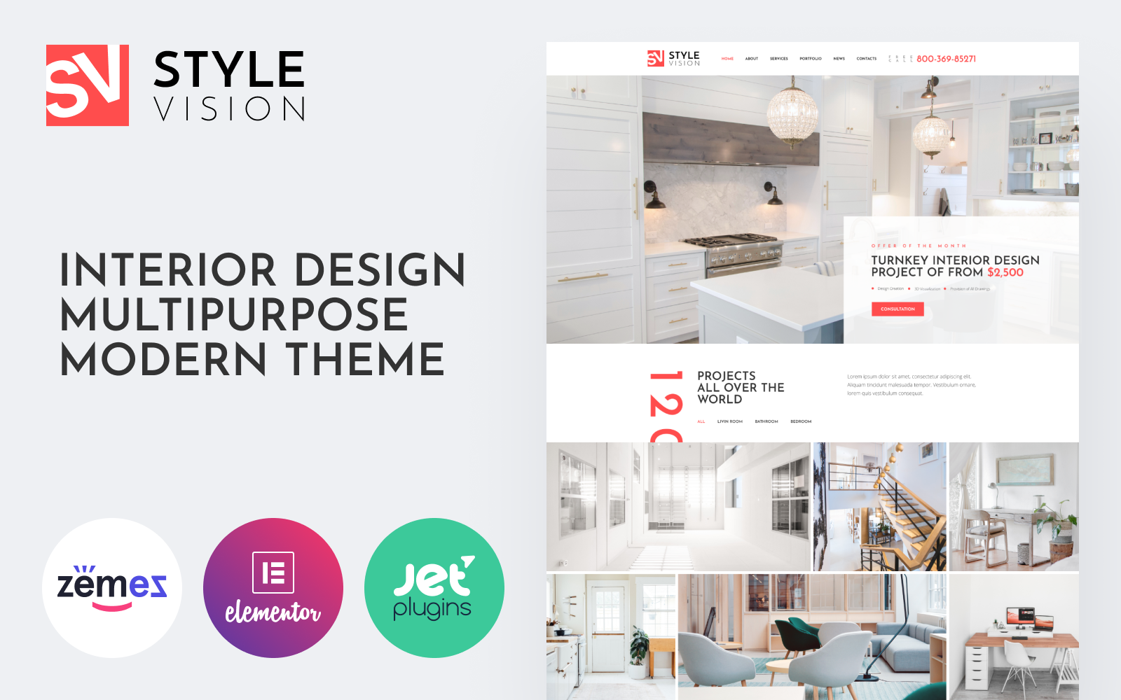 "Tema De WordPress ""Style Vision - Interior Design Multipurpose Modern Elementor"" #84367"