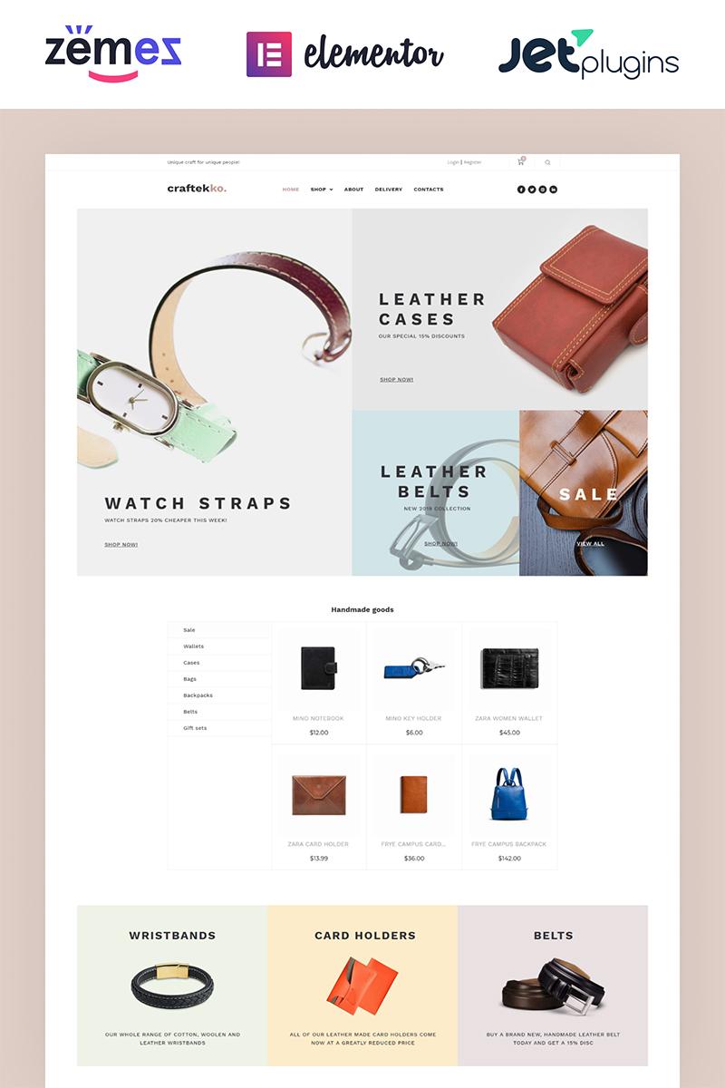 "WooCommerce Theme namens ""Craftekko - Handmade ECommerce Clean Elementor"" #84380"