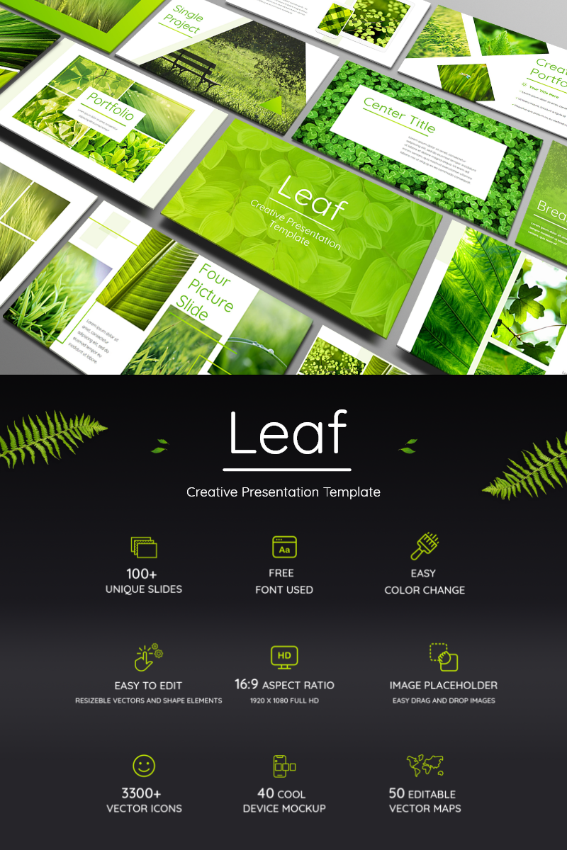 Leaf - Fresh and Bright Presentation PowerPoint Template
