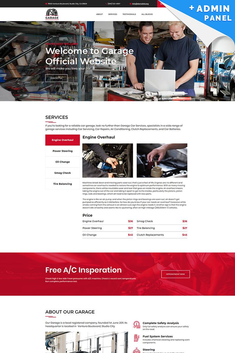 Car Garage Landing Page Template - screenshot