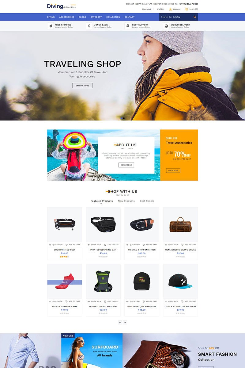 """""""Diving Travel Accessories"""" Shopify模板 #84444"""