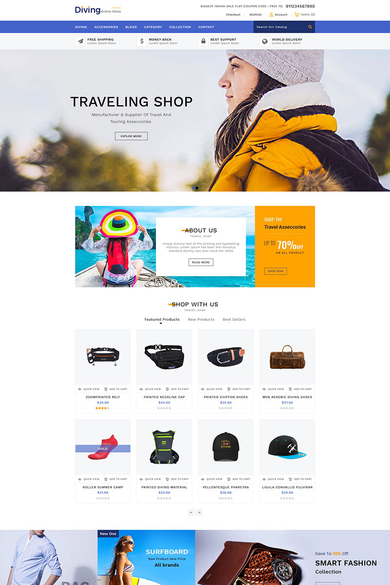 """Diving Travel Accessories"" thème Shopify  #84444"