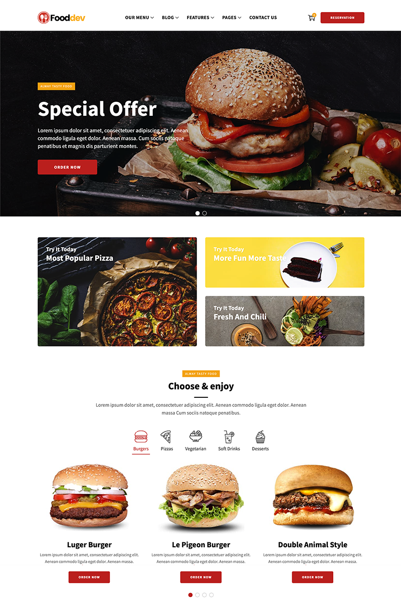 FoodDev - Food Restaurant Responsive Multipage Template Web №84415 - captura de tela