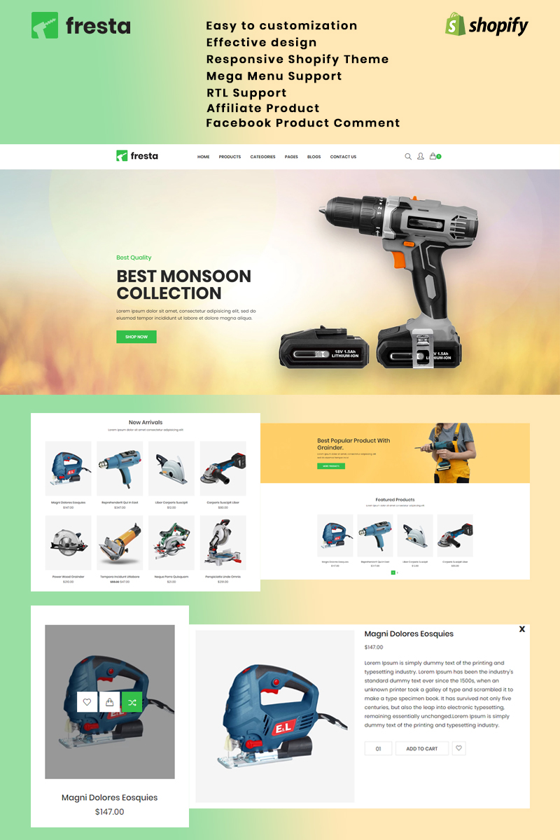 """Fresta - Grinder Tools"" - bootstrap Shopify шаблон №84446"