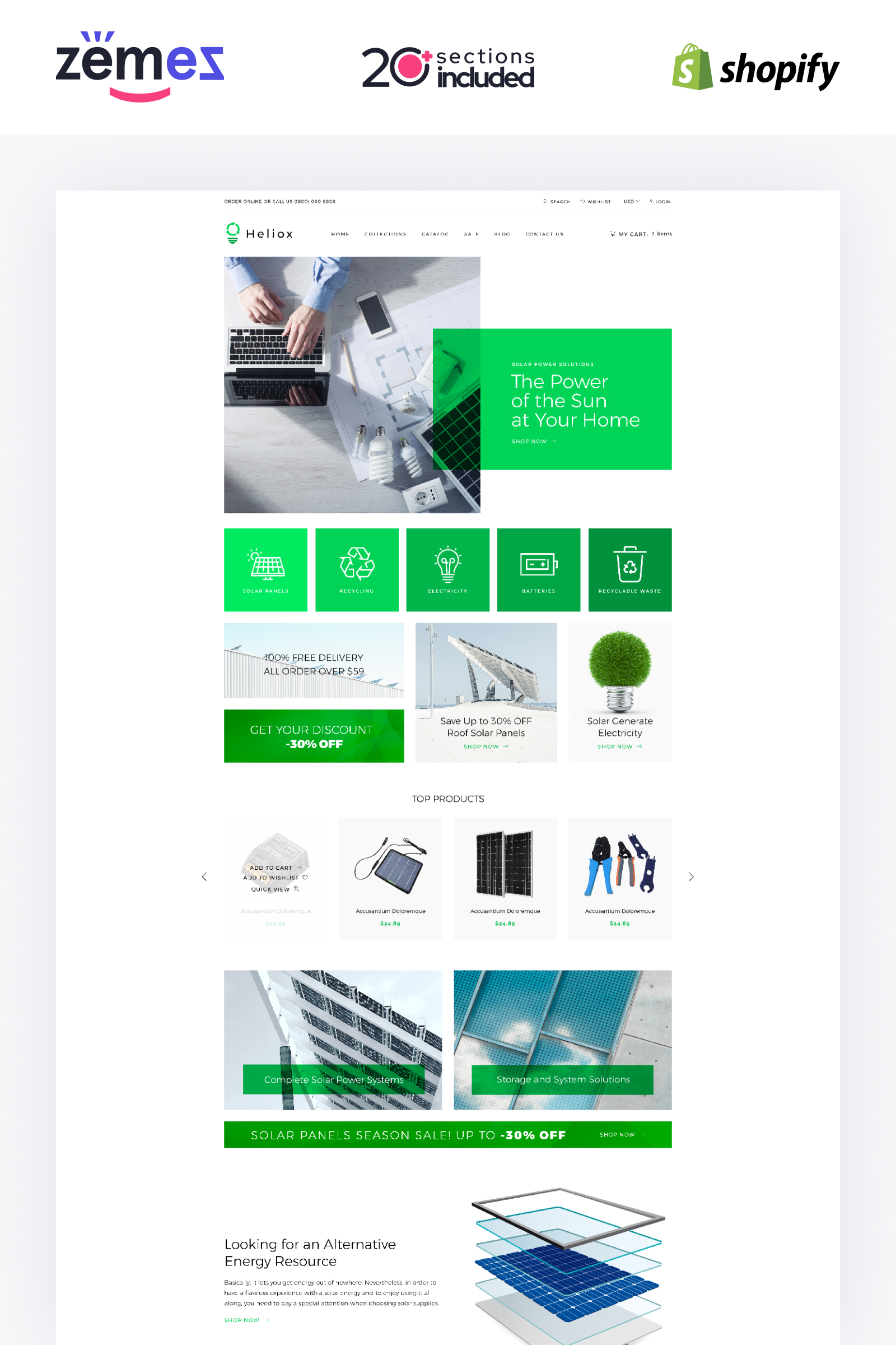"""Helios - Solar Energy eCommerce Modern"" Responsive Shopify Thema №84427"