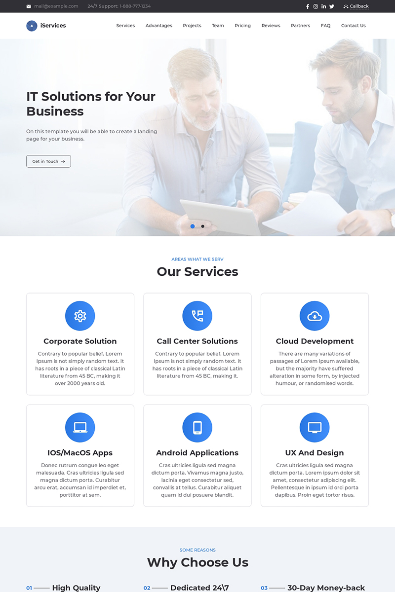 iServices - IT Solutions for Your Business Services Landing Page Template