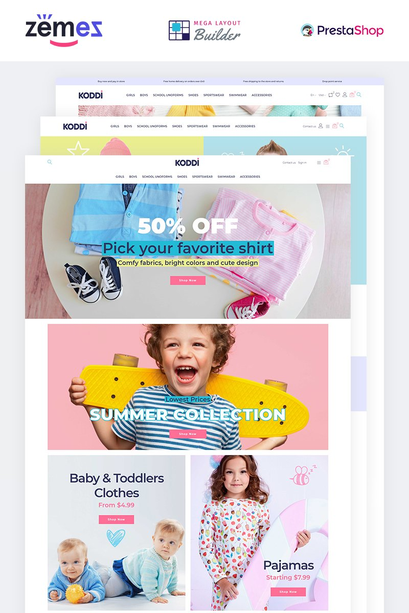 """Koddi - Kids Clothes Clean Ecommerce Bootstrap"" PrestaShop模板 #84421 - 截图"