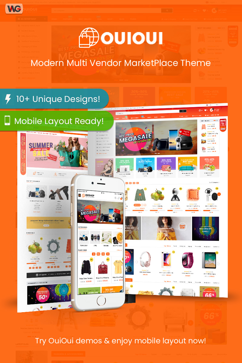 "Modello WooCommerce Responsive #84419 ""OuiOui - Multi Vendor MarketPlace"""