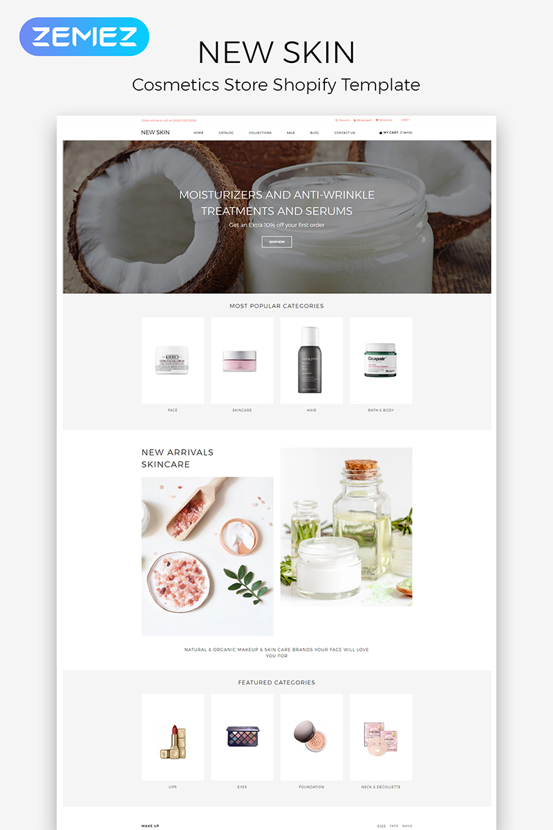"""""""New Skin - Cosmetic Store eÐ¡ommerce Clean"""" 响应式Shopify模板 #84430"""