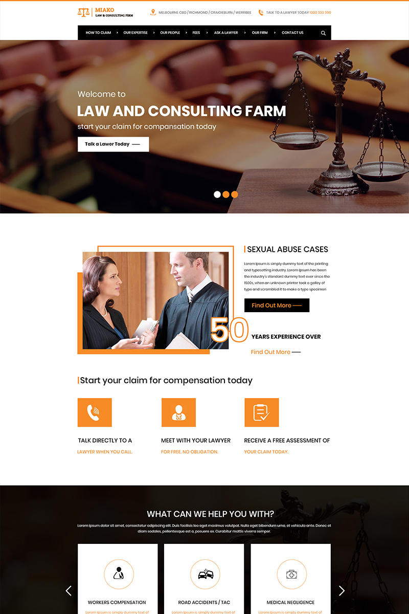 "PSD Vorlage namens ""Miako - Law Firm"" #84411"