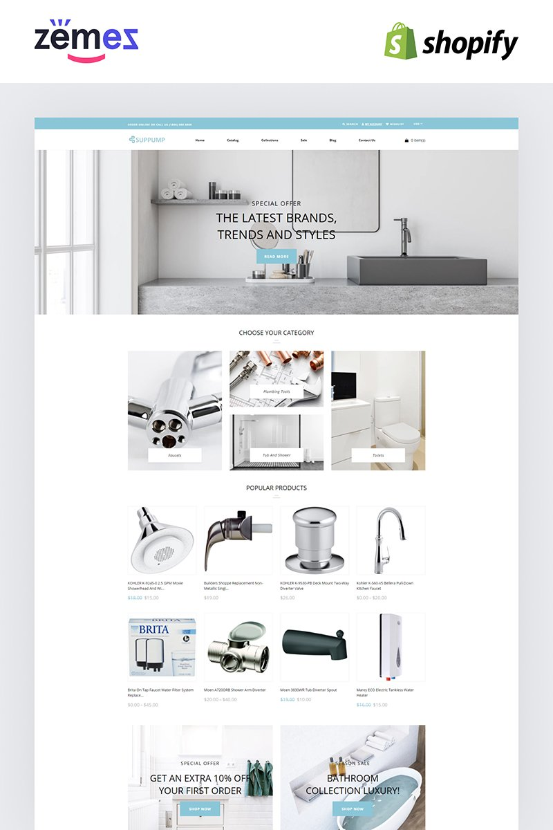 """""""Suppump - Plumbing Multipage Classic"""" Responsive Shopify Thema №84428"""