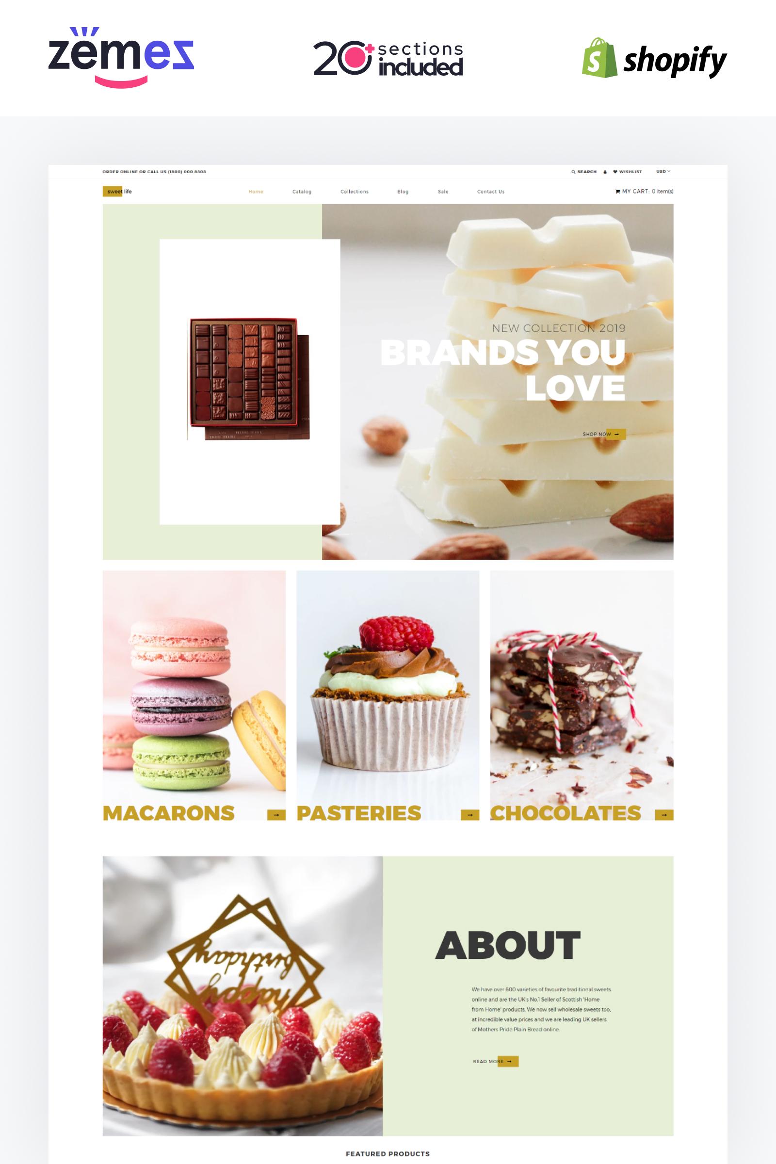 """Sweet Life - Sweet Shop Multipage Clean"" - адаптивний Shopify шаблон №84429"